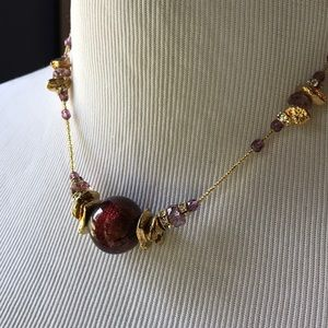 Handcrafted Glass gold toned nuggets Deep Purple